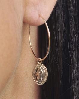 Boucles d'oreilles créoles plaqué or pendentif madone - Bijoux créateurs femme x Madame Vedette