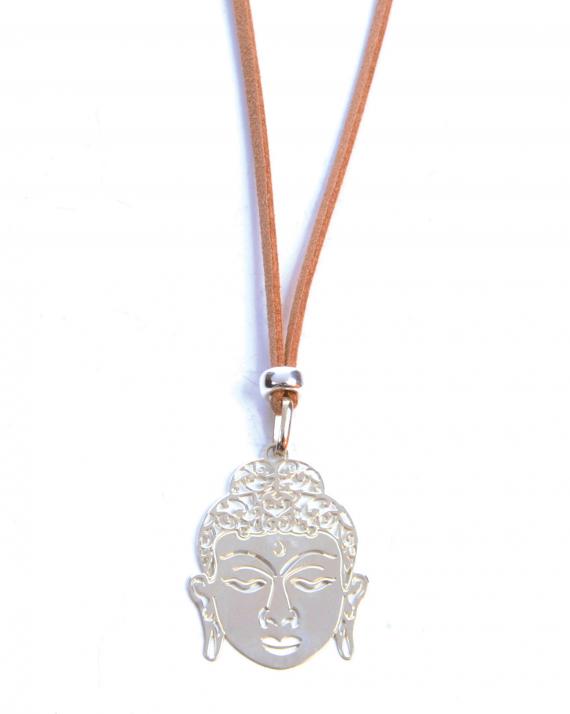 Collier sautoir suédine pendentif tête bouddha en argent 925 pour femme - Madame Vedette