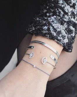 Bracelet jonc cadenas ruban argent massif pour femme - Bijoux fantaisie créateurs x Madame Vedette