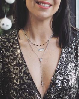 Collier long chaîne argent 925 pendentif madone - Bijoux créateurs x Madame Vedette