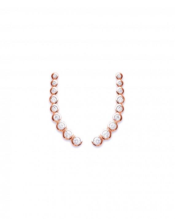 Lobes d'oreilles plaqué or rose et brillants - Bijoux fantaisie créateurs - Madame Vedette