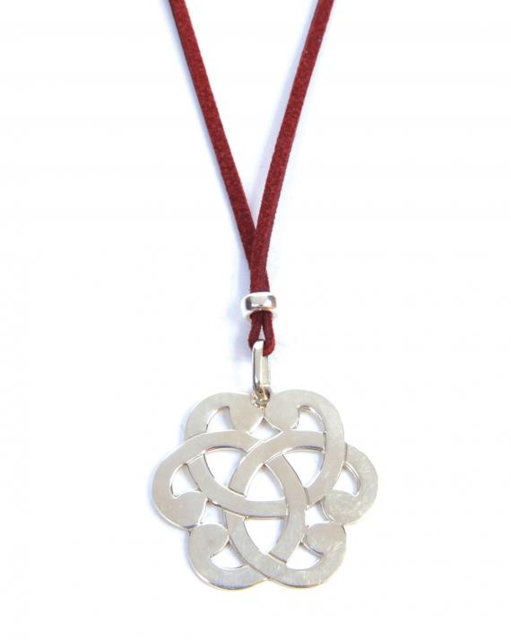 Collier sautoir suédine pendentif arabesque argent 925 - Bijoux création tendance - Madame Vedette