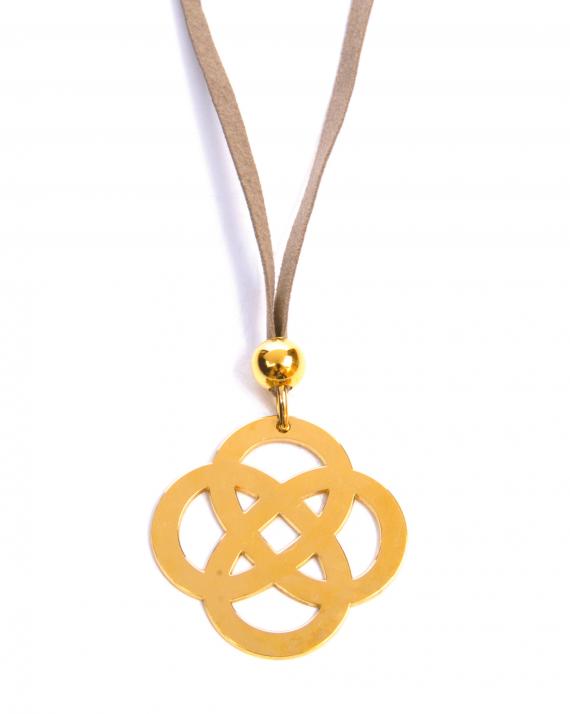 Collier sautoir suédine pendentif éternité plaqué or - Bijoux création - Madame Vedette