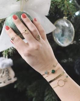 Bracelet femme jonc ouvert plaqué or et aventurine - Bijoux de créateurs x Madame Vedette