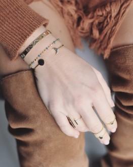 Bracelet chaîne fine plaqué or perles couleur - Bijoux fantaisie tendances - Madame Vedette