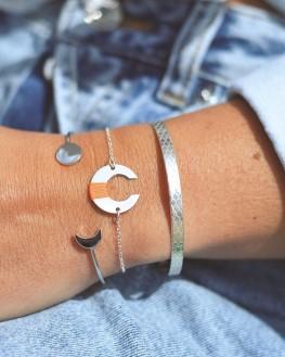 Nouveauté composition bracelet femme jonc ruban cadenas écailles argent 925 - Bijoux créateurs - Madame Vedette