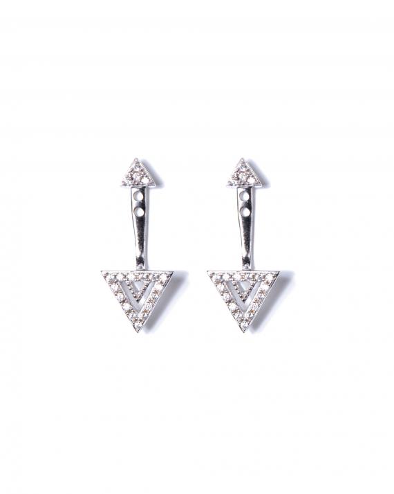 Nouveauté boucles d'oreilles femme argent 925 et brillants zircon - Bijoux de créateur - Madame Vedette