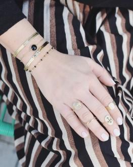 Bague tendance plaqué or croix onyx - Acheter bijoux fantaisie créateurs - Madame Vedette