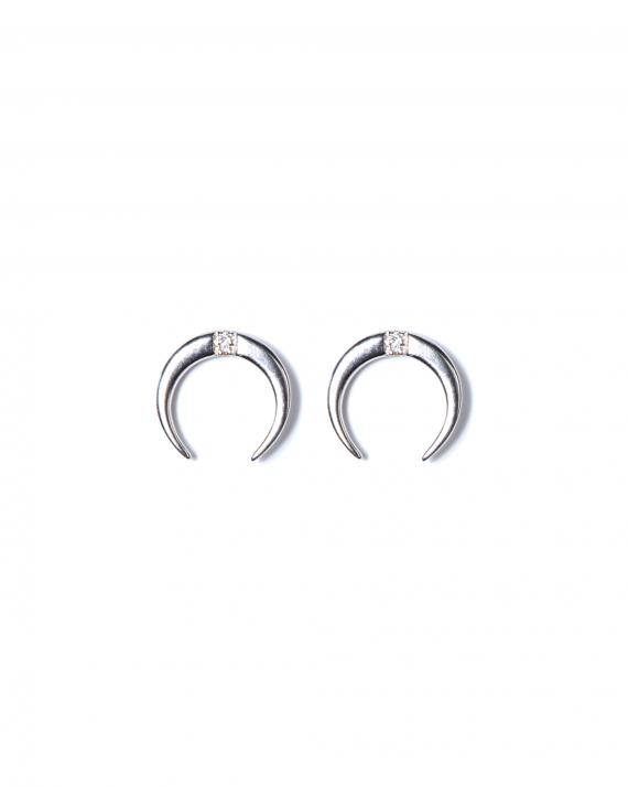 Boucles d'oreilles argent 925 cornes et brillants zircon création femme - Madame Vedette