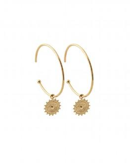Création boucles d'oreilles créoles pendentif plaqué or femme - Bijoux fantaisie - Madame Vedette