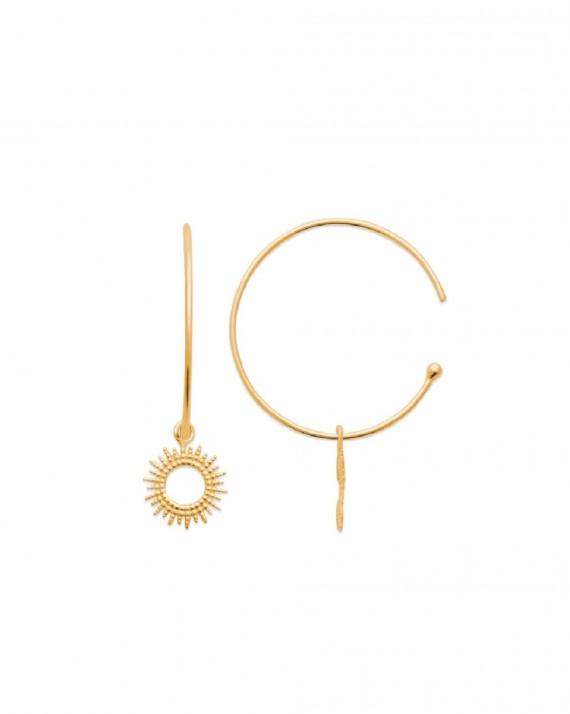 Boucles d'oreilles créoles pendentif plaqué or pour femme - Bijoux créateurs - Madame Vedette