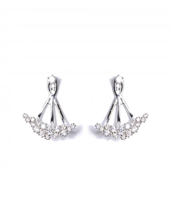 Boucles d'oreilles argent 925 triptyque brillants tendance - Bijoux créateur - Madame Vedette
