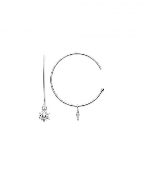 Acheter boucles d'oreilles créoles fines argent 925 - Bijoux fantaisie créateurs - Madame Vedette