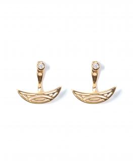 Boucles d'oreilles maya plaqué or et brillant zircon création tendance femme - Madame Vedette