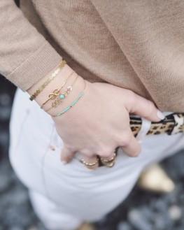 Bracelet jonc cadenas ruban plaqué or femme - Bijoux fantaisie créateurs - Madame Vedette