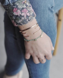 Jonc ouvert tendance plaqué or rose pour femme - Bijoux fantaisie créateurs - Madame Vedette