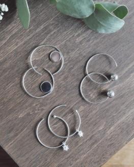 Tendance boucles d'oreilles créoles argent 925 pour femme - Bijoux fantaisie - Madame Vedette