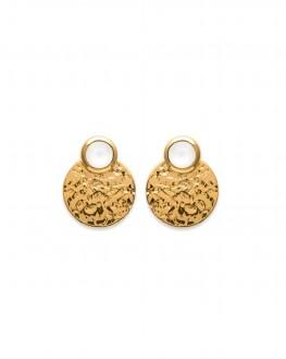 Boucles d'oreilles contour plaqué or et pierre de lune - Bijoux fantaisie créateurs - Madame Vedette