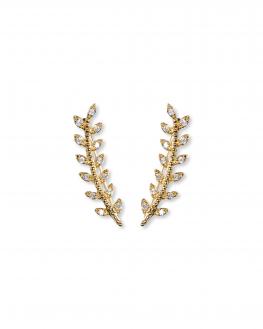 Boucles d'oreilles tendances plaqué or lauriers brillants zircon - Bijoux fantaisie - Madame Vedette