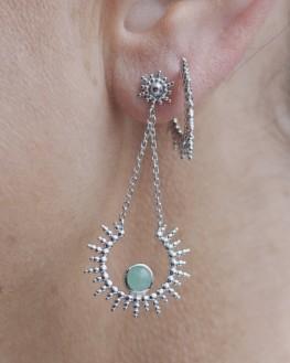 Boucles d'oreilles aventurine et argent pour femme - Bijoux fins de créateurs - Madame Vedette