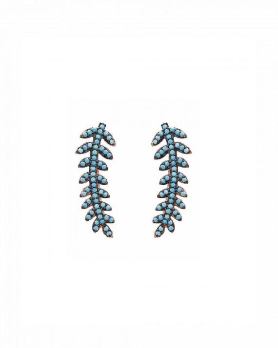Boucles d'oreilles lauriers plaqué or rose - Bijoux fantaisie créateurs - Madame Vedette