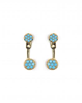 Tendance boucles d'oreilles femme plaqué or pastilles turquoises - Bijoux de créateur - Madame Vedette