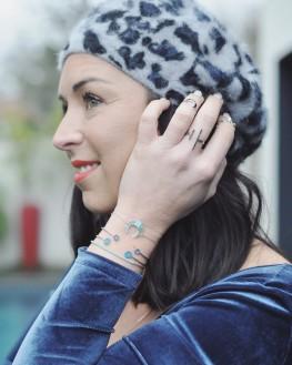 Bracelet en argent et turquoises pour femme - Madame Vedette, créatrice de joncs tendance