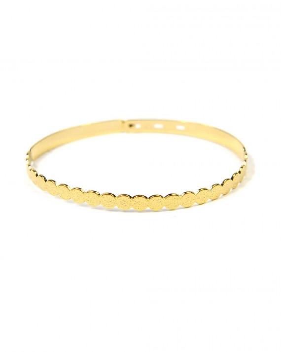 Création bracelet jonc cadenas ruban plaqué or pour femme - Madame Vedette, bijouterie tendance
