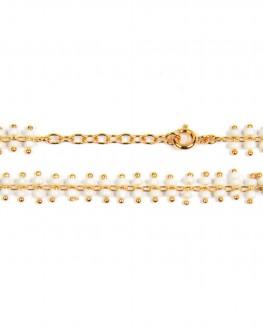 Création bracelet femme en plaqué or et perles blanches - Bijoux fantaisie de créateur - Madame Vedette