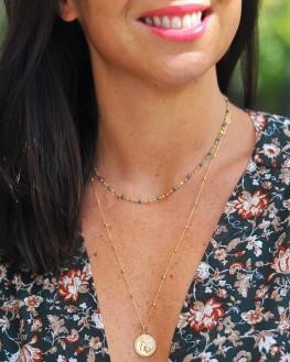 Collier fin plaqué or perles couleur création femme - Madame Vedette, créatrice bijoux tendance