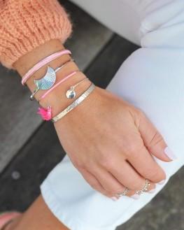 Création jonc en argent pompon couleur - Madame Vedette, créatrice bijoux fantaisie tendance