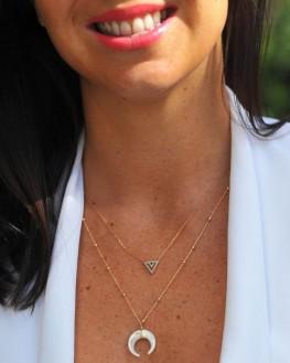 Collier fantaisie pendentif triangle plaqué or 18k turquoises - Bijoux fantaisie tendances - Madame Vedette