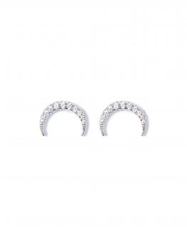 Boucles d'oreilles femme argent 925 corne et brillants zircon - Bijoux de créateur - Madame Vedette