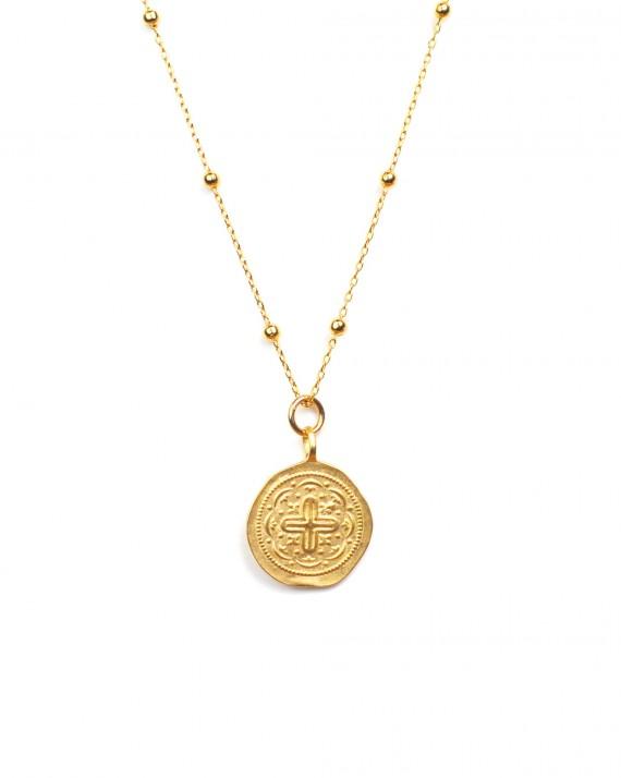 Collier long plaqué or pendentif médaillon - Madame Vedette bijoux haute fantaisie