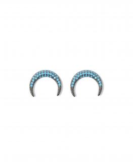 Nouveauté boucles d'oreilles femme argent 925 corne noire et turquoises - Bijoux de créateur - Madame Vedette