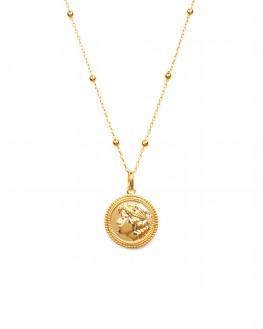Sautoir chaîne plaqué or médaillon antique - Madame Vedette, bijoux haute fantaisie