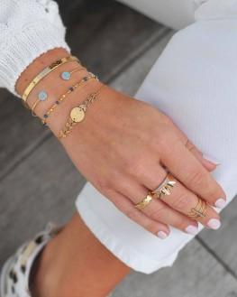 Bracelet jonc cadenas ruban plaqué or pour femme - Bijoux fantaisie créateurs - Madame Vedette
