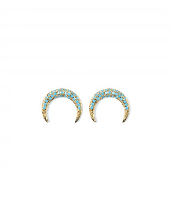 Boucles d'oreilles plaqué or corne pierres turquoises création femme tendance - Madame Vedette