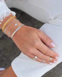 Bracelet jonc ruban argent 925 pour femme - Madame Vedette, bijoux fantaisie tendance