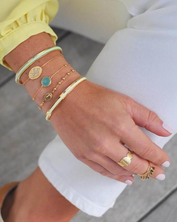 Bracelet chaîne fine plaqué or et pierre de couleur - Bijoux délicats fantaisie - Madame Vedette