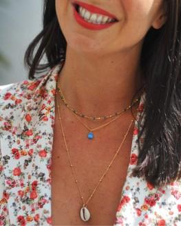Collier sautoir plaqué or pendentif coquillage - Bijoux fantaisie tendance - Madame Vedette