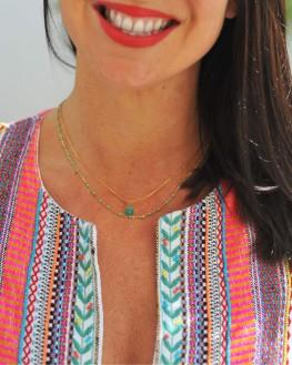 Collier chaîne boules plaqué or pendentif pierre verte - Bijoux fantaisie tendance - Madame Vedette