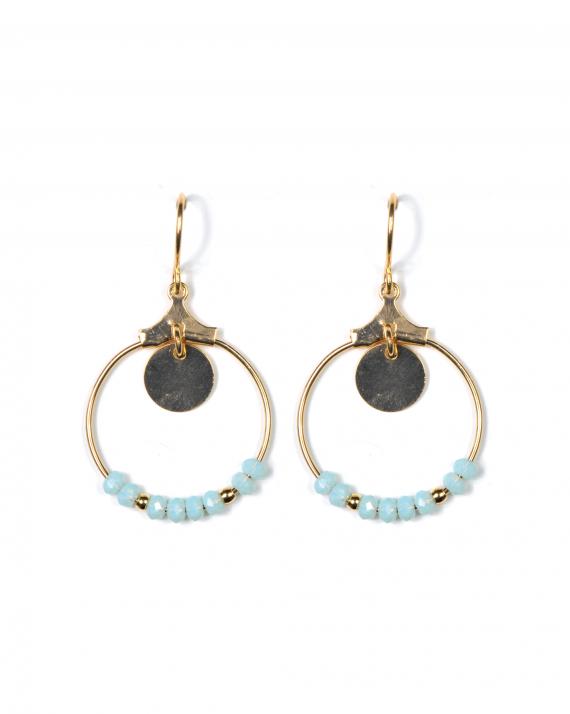 Boucles d'oreilles plaqué or anneau perles et pampille médaille pour femme - Madame Vedette