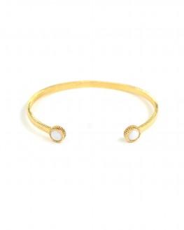 Bracelet jonc plaqué or pierre blanche - Bijoux tendances de créateurs - Madame Vedette