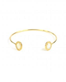 Bracelet jonc ouvert plaqué or pierres semi transparentes - Bijoux fantaisie de créateurs - Madame Vedette