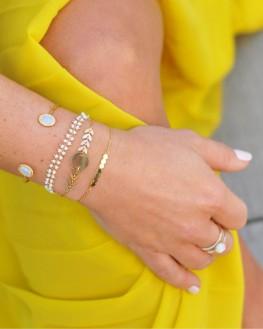 Bracelet jonc plaqué or 18k pierres semi transparentes - Bijoux tendances fantaisie - Madame Vedette