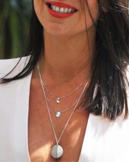 Collier tendance double rang en argent 925 lune et soleil - Bijoux fantaisie - Madame Vedette