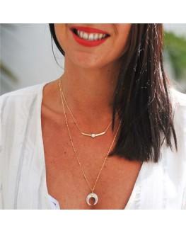 Collier tendance plaqué or 18k et pierre fine - Bijoux fantaisie tendances pour femme - Madame Vedette