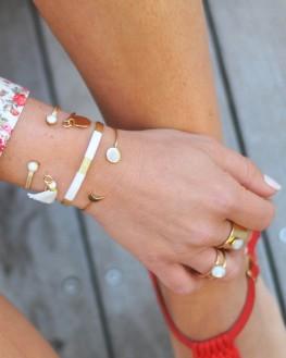 Jonc fantaisie plaqué or pour femme pierre blanche - Bijoux fantaisie tendances par Madame Vedette