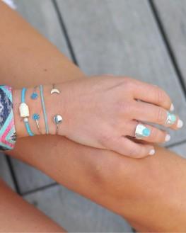 Bracelet fin argent 925 et pierres turquoises - Bijoux fantaisie mode - Madame Vedette
